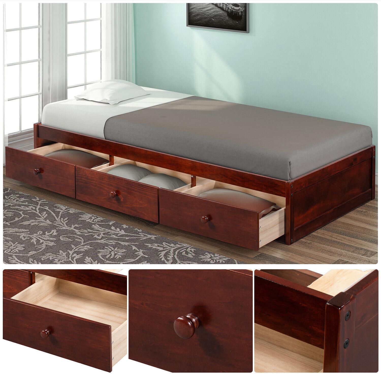 Usa Twin Size Bed Frame Wood Bedroom Furniture Platform 3 Drawers Storage New For Sale Online