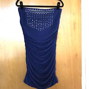 Victoria-039-s-Secret-Strapless-Dress-Size-L-Bodycon-Stretch-Sequins-Blue-Ruched