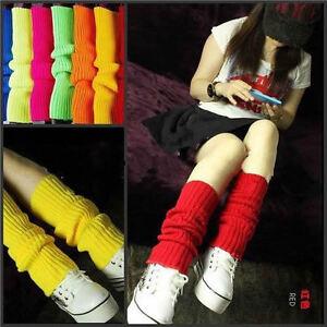 Ladies-Fashion-Legwarmers-Knitted-Neon-Dance-80s-Costume-1980s-Lady-Leg-Warmers