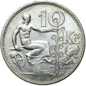 Tschechoslowakei-Muenze-10-Korun-1932-Erhaltung-Silber