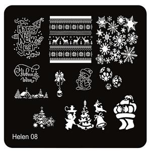 Stamping Schablone Schrift Fullcover Weihnachten Schneeflocken Muster Helen 08 Nail Care, Manicure & Pedicure
