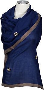 Cashmere-Seide-Schal-Blau-Bronze-Perlen-handbestickt-scarf-stole-Blue-foulard