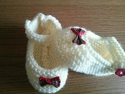 Crema Tejido A Mano Con Moño Tartán Escocés Zapatos de bebé Reborn Recién Nacido 0-3, 3-6