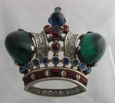 Vintage Trifari Philippe Sterling Silver Large Crown Pin Brooch Green Cabochons