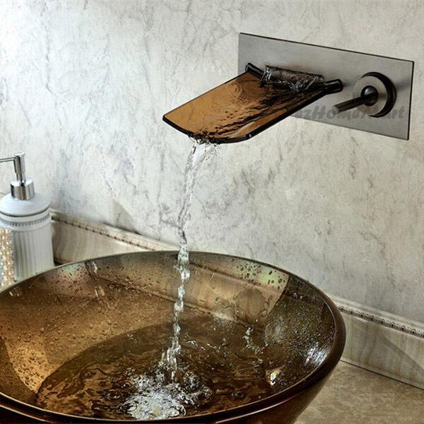 Bronzo lucidato olio bagno cascata lavandino rubinetto miscelatore rubinetto VETRO Bacino rubinetto Acqua