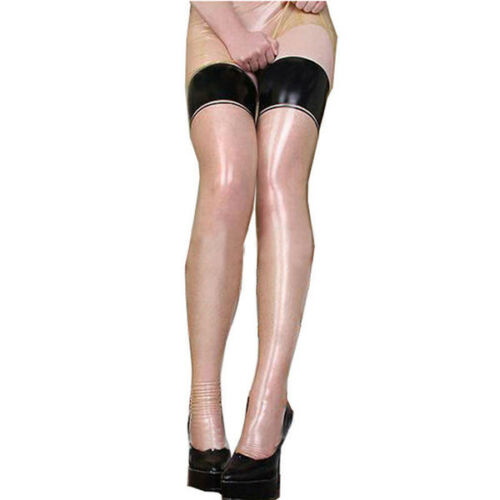 Latex Rubber Transparent Stockings with Black Trim Customized