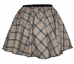 Ladies-Thompson-Camel-Tartan-Full-Circle-Skater-Skirt-With-Elasticated-Waistband