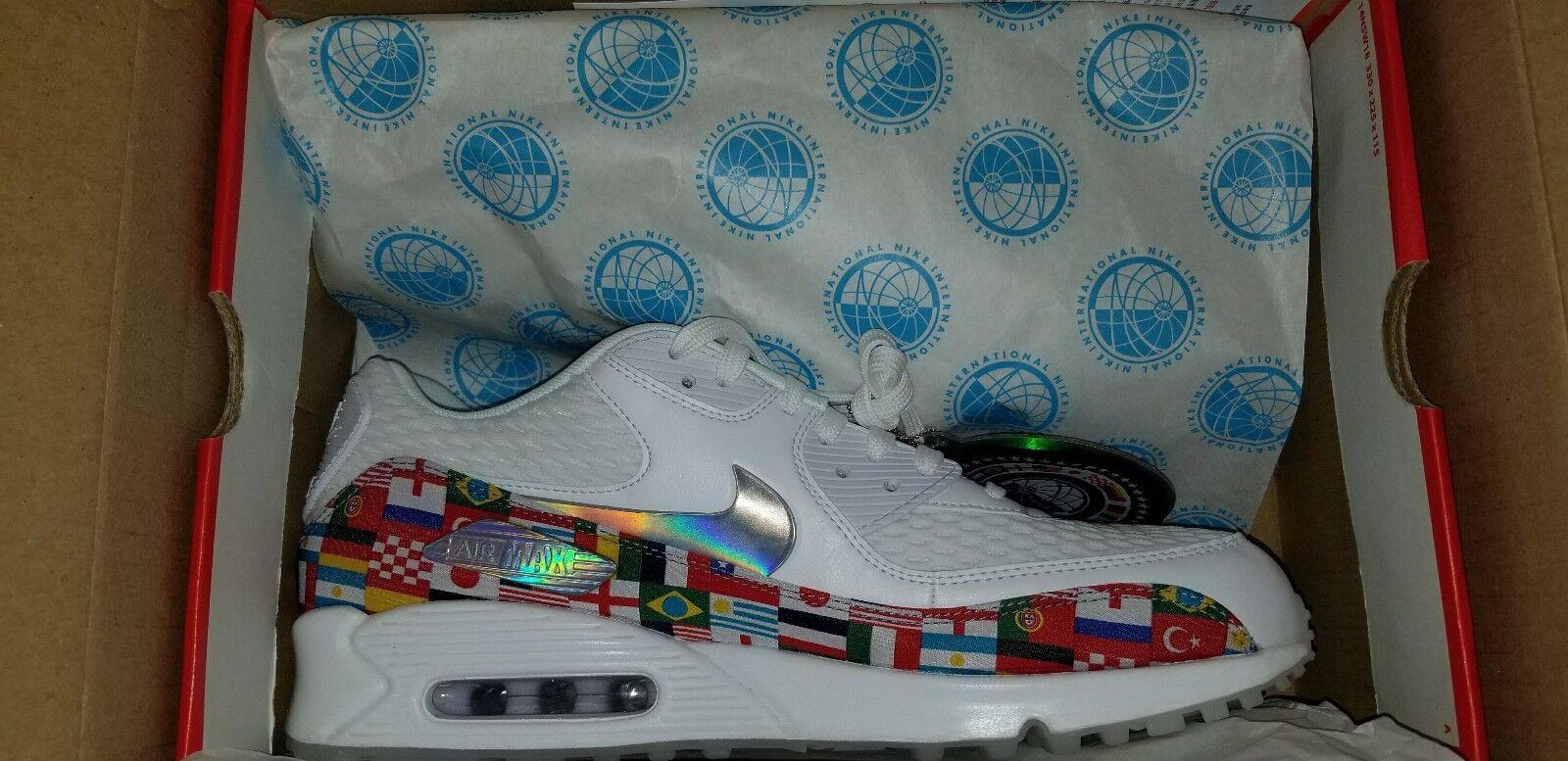 Nike air max 90 nic bianco di coppa del mondo ao5119-100 bandiera internazionale multi sz 11