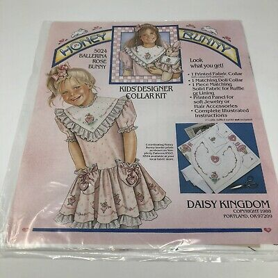 Vintage Daisy Kingdom Kid/'s Designer Collar Kit Ballerina Rose Bunny Honey Bunny Pattern #5024