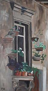 Garden-Window-in-Umbria-Oil-Painting-1996-James-RM-Arnold-20-21stC-British