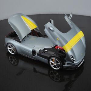 New-1-18-Bburago-Ferrari-Monza-SP1-Open-close-car-model-Silver-Yellow-stripe