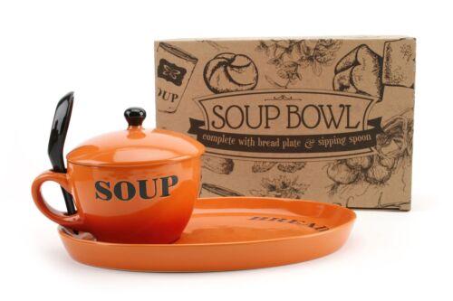 Orange émaillé Soupe Bol avec couvercle ~ comprend pain plaque et sirotant Cuillère