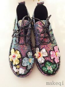 New Sneakers Shoes Athletic Bling Flower Womens 2017 Up Round Sequin Toe  Lace Us v6vqPd 12bf7aeaa8be6