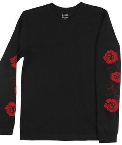 Men-039-s-Black-Rose-Long-sleeve-T-shirt-with-Red-roses-on-Sleeve-Print-Designer-Tee