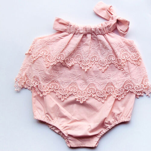 Canis Newborn Baby Girls Lace Romper Bodysuit Jumpsuit Outfits Sunsuit Clothes
