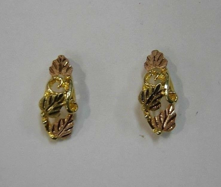 12K BHG Multi-Tone Yellow and pink gold Leaf Design Earrings 50-P