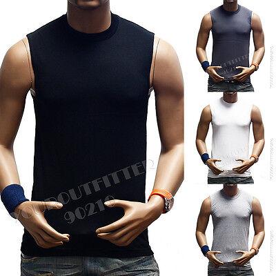 Mens Tank Top Sleeveless Muscle  Plain T-Shirts Tee Premium Tee 100% US Cotton