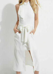 Stunning-Brand-New-Womens-River-Island-Ivory-Midi-Summer-Dress-with-Belt-Sz-10