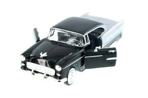 1955-Chevy-Bel-Air-Die-cast-Model-Car-1-24-Scale-Motormax-8-inch-BLACK-NO-Box