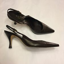 GUCCI chocolate brown leather slingback kitten heels court shoes 36 C / UK 3