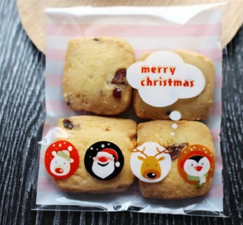 Christmas Cookie Bags Plastic Seal Snowman Sweet Gift Bag Biscuit Bag Cellophane