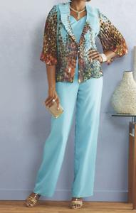 Ashro Ocho Rios Pant Suit NEW NWT 3-Piece Aqua bluee Animal Print