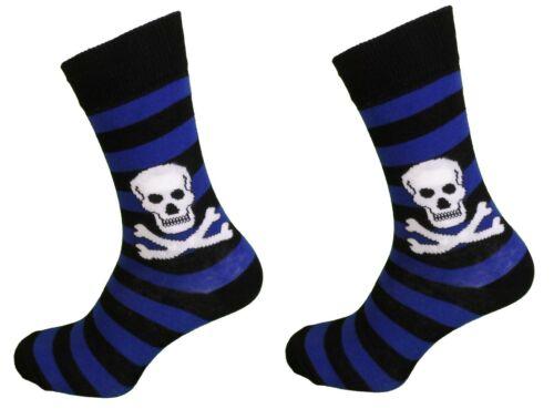 Ladies 2 Pair Pack of Blue Striped Skull and Crossbones Socks