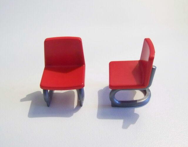 PLAYMOBIL (R222) MAISON MODERNE - Lot de 2 Chaises de Bureau Rouge
