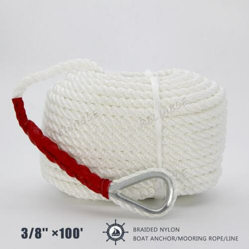 """High Quality White Twisted 3//8/""""x100/'ft Boat Marine Anchor Line Dock Mooring Rope"""