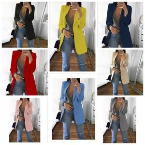 Women-Slim-Casual-Blazer-Jacket-Top-Outwear-Long-Sleeve-Career-Formal-Long-Coat