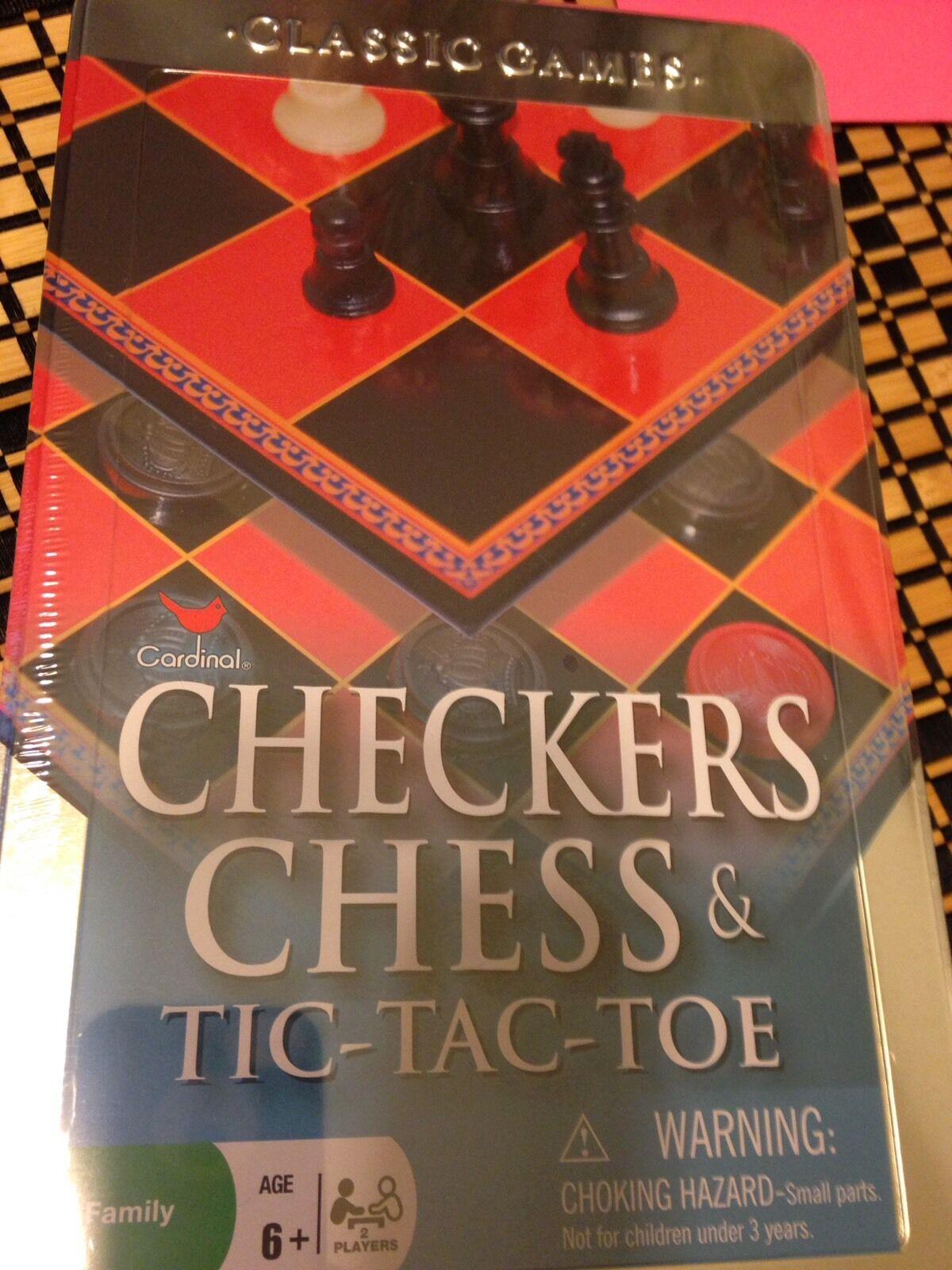 Cardinal  Checkers Chess /& Tic-Tac-Toe Tin Box Game Cardinal Industries CRD 58325