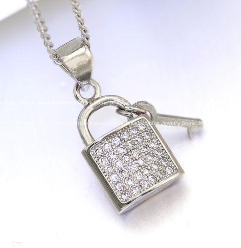 18K WHITE GOLD GF PADLOCK KEY LAB DIAMOND SOLID LADY GIRLS NECKLACE PENDANT GIFT