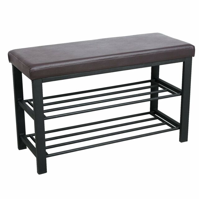 Shoe Rack Brown Casablanca Leather Bench Metal Stool Silver Seating Bench For Sale Online Ebay