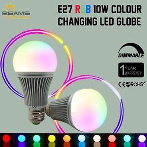 E27-10-W-RGB-amp-Wihte-LED-dimmerabile-Lampadina-Globo-Lampada-Cambia-colore-remote