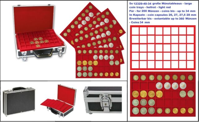 Look 269-9-5 Large ALU coin case Black For 200 Coins IN Coin Capsules 26