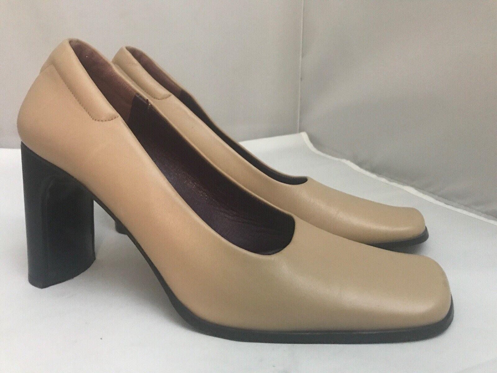 Luzia Mirnar Women's Tan Leather Square Toe Pumps… - image 1