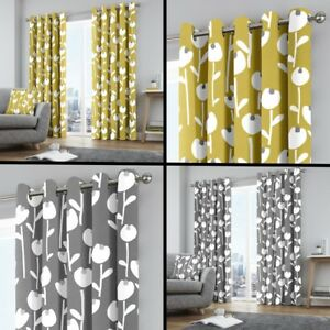 Curtains & Pelmets Home, Furniture & Diy Alabar Floral Fully Lined Eyelet Curtains Grey Ochre Yellow