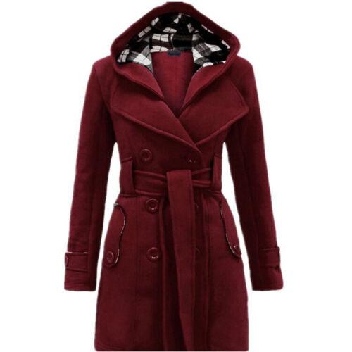 Women Warm Winter Hooded Trench Coat Wool Blends Long Jacket Outwear Parka Tops