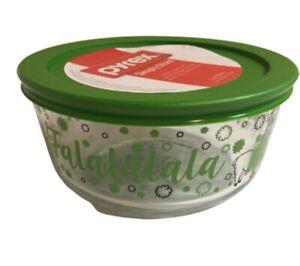 NEW-PYREX-4-Cup-Glass-Storage-Bowl-Green-Lid-2019-Holiday-Llama-falalalalalala