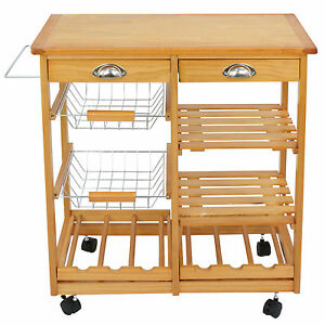 Rolling Wood Bamboo Kitchen Island Trolley Cart Dining Storage