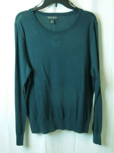 Details about  /Forever 21 Sheer Lightweight Sweater Blouse Top Shirt Long Sleeve Peacock NEW