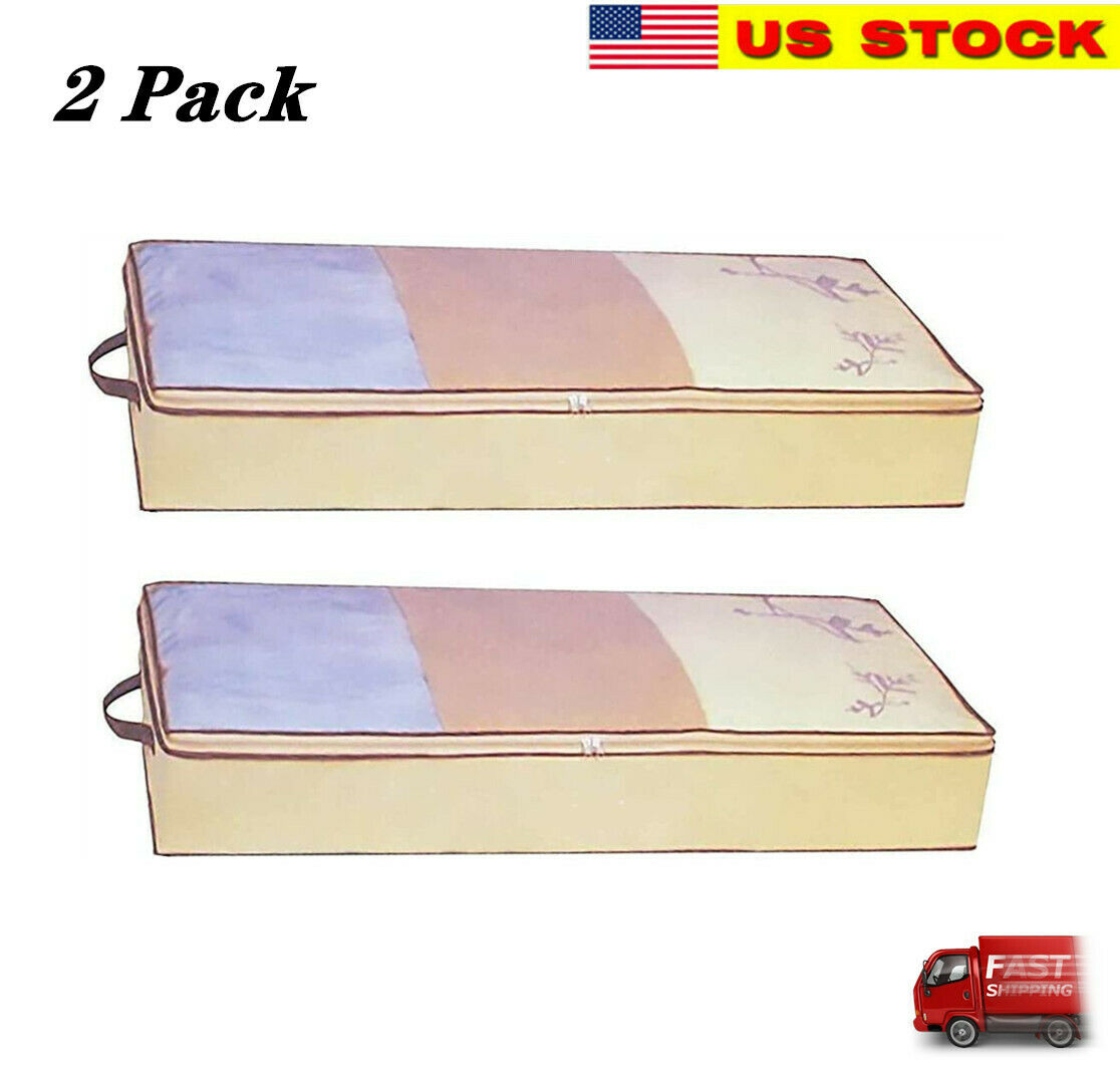 2 Pack Flexible Zippered Under Bed Storage Bag Fabric Underbed Clothes Storage For Sale Online