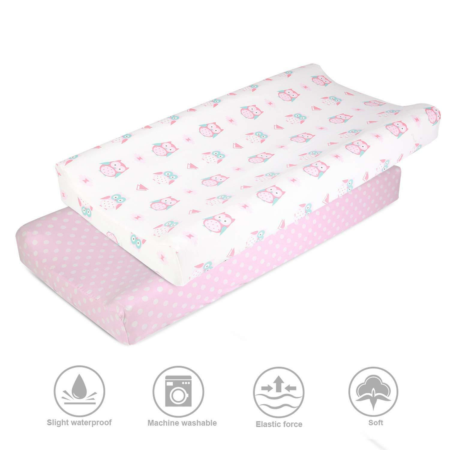 Infant Soft Stretchy Jersey Knit  Baby Diaper Change Changing Pad Cover 2Pack
