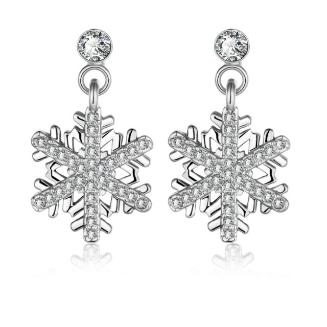 BERRICLE Silver Cubic Zirconia Snowflake Fashion Dangle Drop Earrings