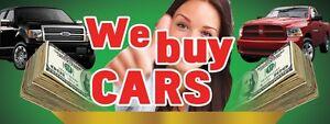 3ft x 8ft We Buy Cars Vinyl Banner -Alt to Banner Flag 3'x8' (124)