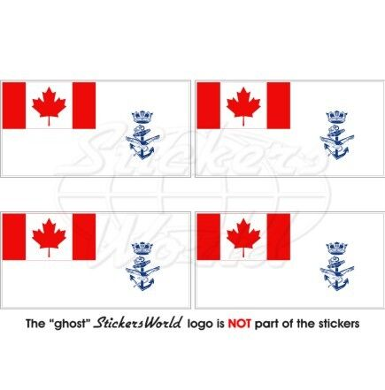 """2/"""" Sticker-Decal x4 CANADA Canadian Naval Jack NAVY Maritime Command Flag 50mm"""