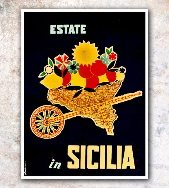 "Art Print Italy Sicily Vintage Travel Poster 12x18"" A484"