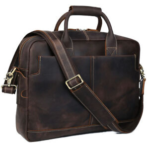 Men-039-s-Real-Leather-Briefcase-Attache-Case-16-034-Laptop-Cross-Body-Messenger-Bag