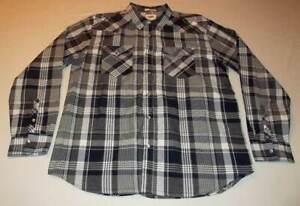 Mens-Levi-039-s-Gray-Black-Plaid-Western-Pearl-Snap-Shirt-Standard-Fit-Size-Large