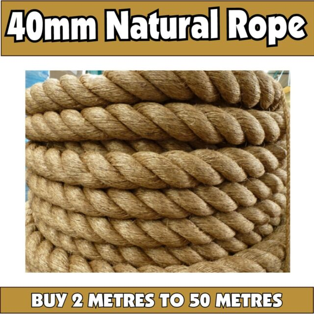 Sisal Rope 40mm Natural Fibre Hemp Manila Jute - By The Metre or Roll Bridge 40